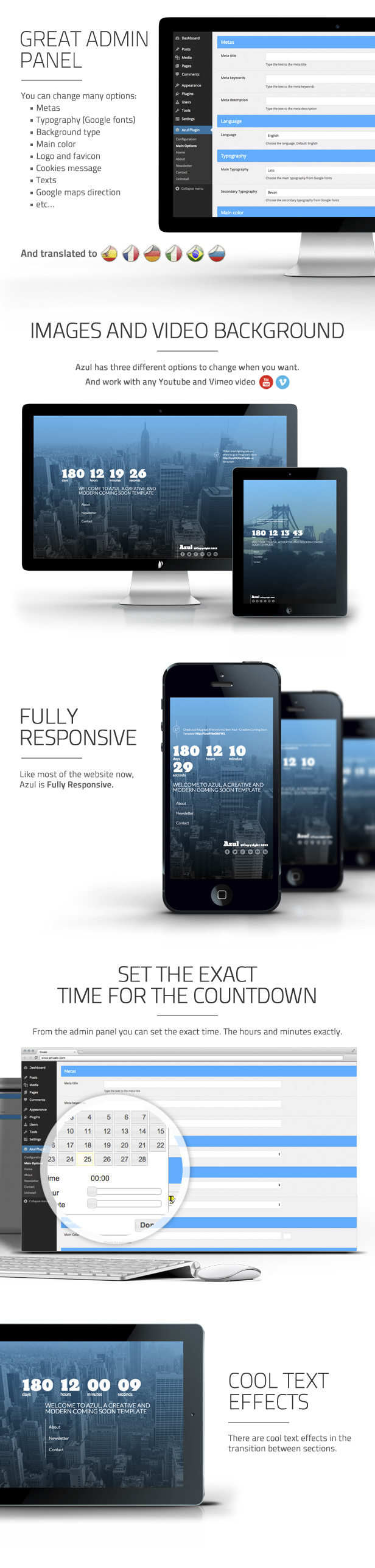 Azul - Responsive WordPress Coming Soon Plugin - 4